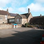 Kington St Michael village Hall courtyard