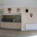 Panoramic view of the inside of Kington St Michael Village Hall